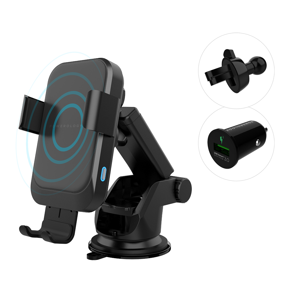 Powerology Fast Wireless Charger Car Mount 7.5W/15W Auto-Open Function - QC3.0 Car Charger Included
