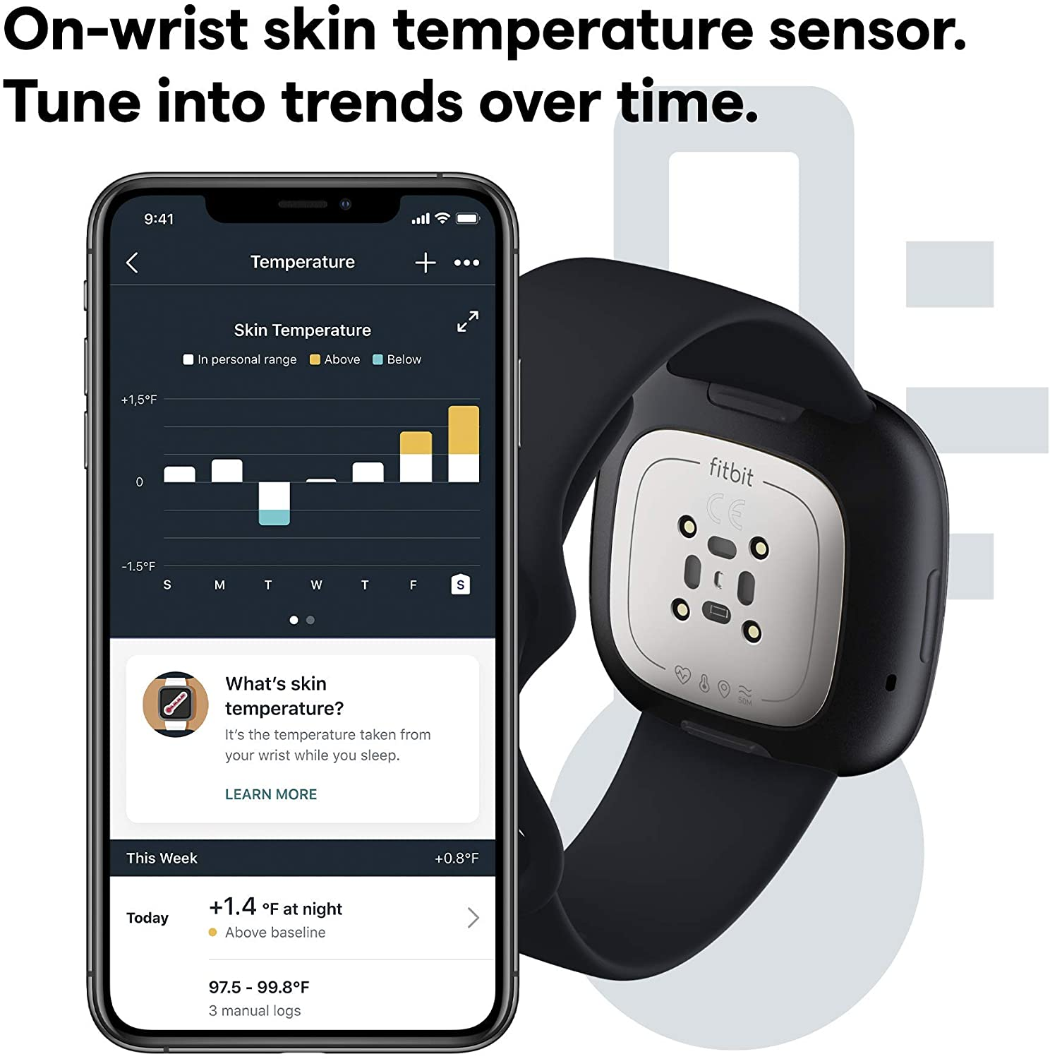 Fitbit Sense, Advanced Smartwatch with Tools for Heart Health, Stress Management & Skin Temperature Trends, Carbon/Graphite Stainless Steel